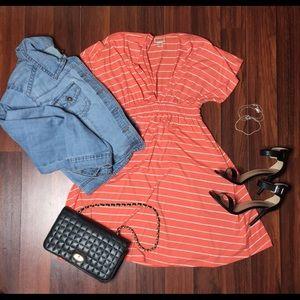 Orange &White Vneck Stripe Dress
